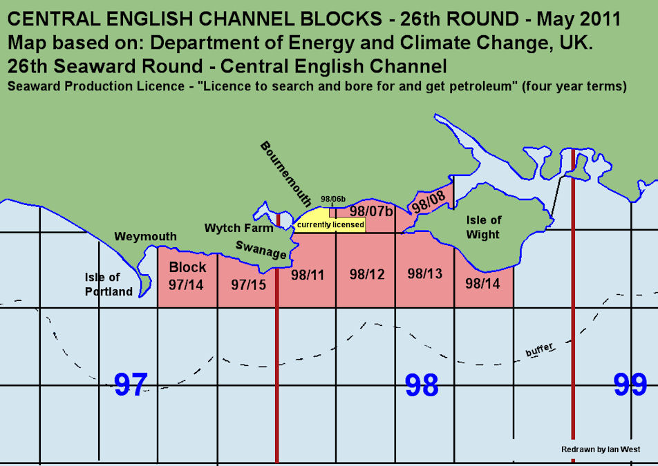 Licence Block map, Offshore Oil and Gas Licensing, Central English Channel, 26th Seaward Round, May 2011