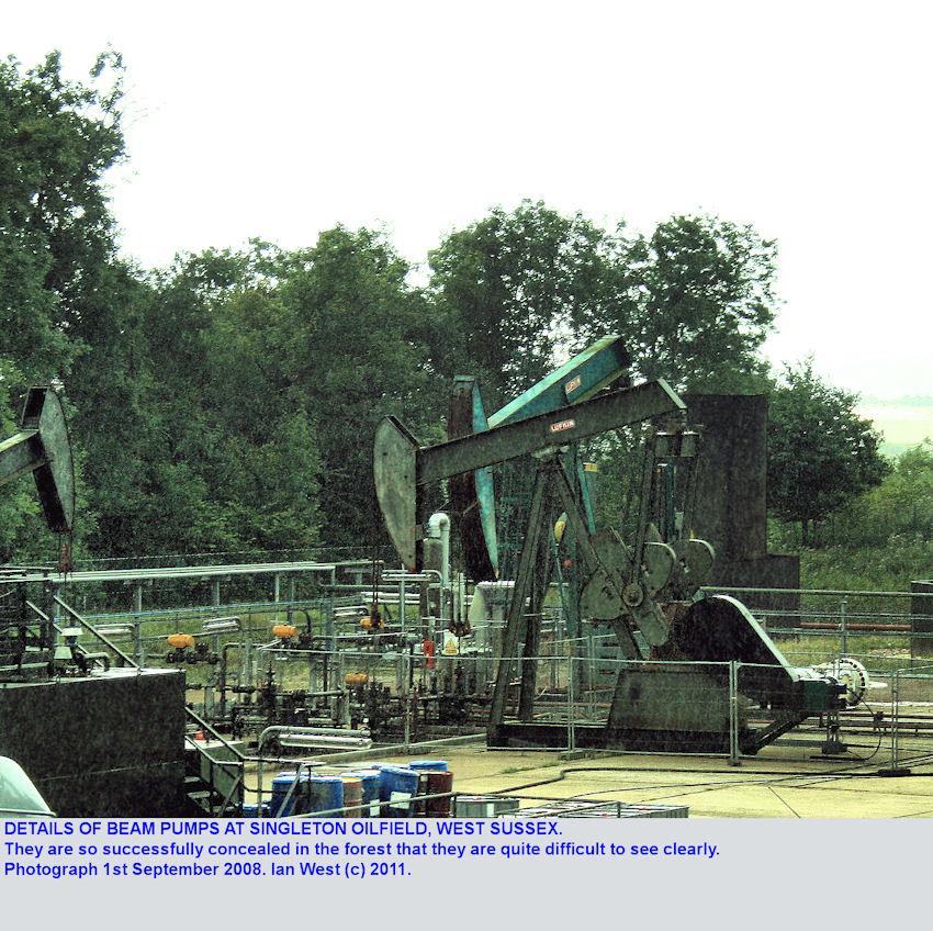 Details of beam pumps at Singleton Oilfield, Sussex, September 2008