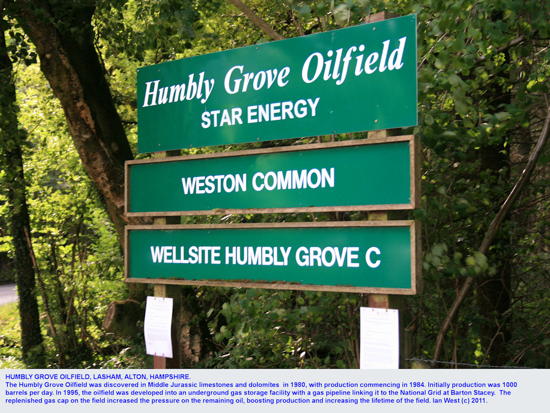 Humbly Grove Oilfield, in Middle Jurassic carbonates, near Lasham, Alton, Hampshire