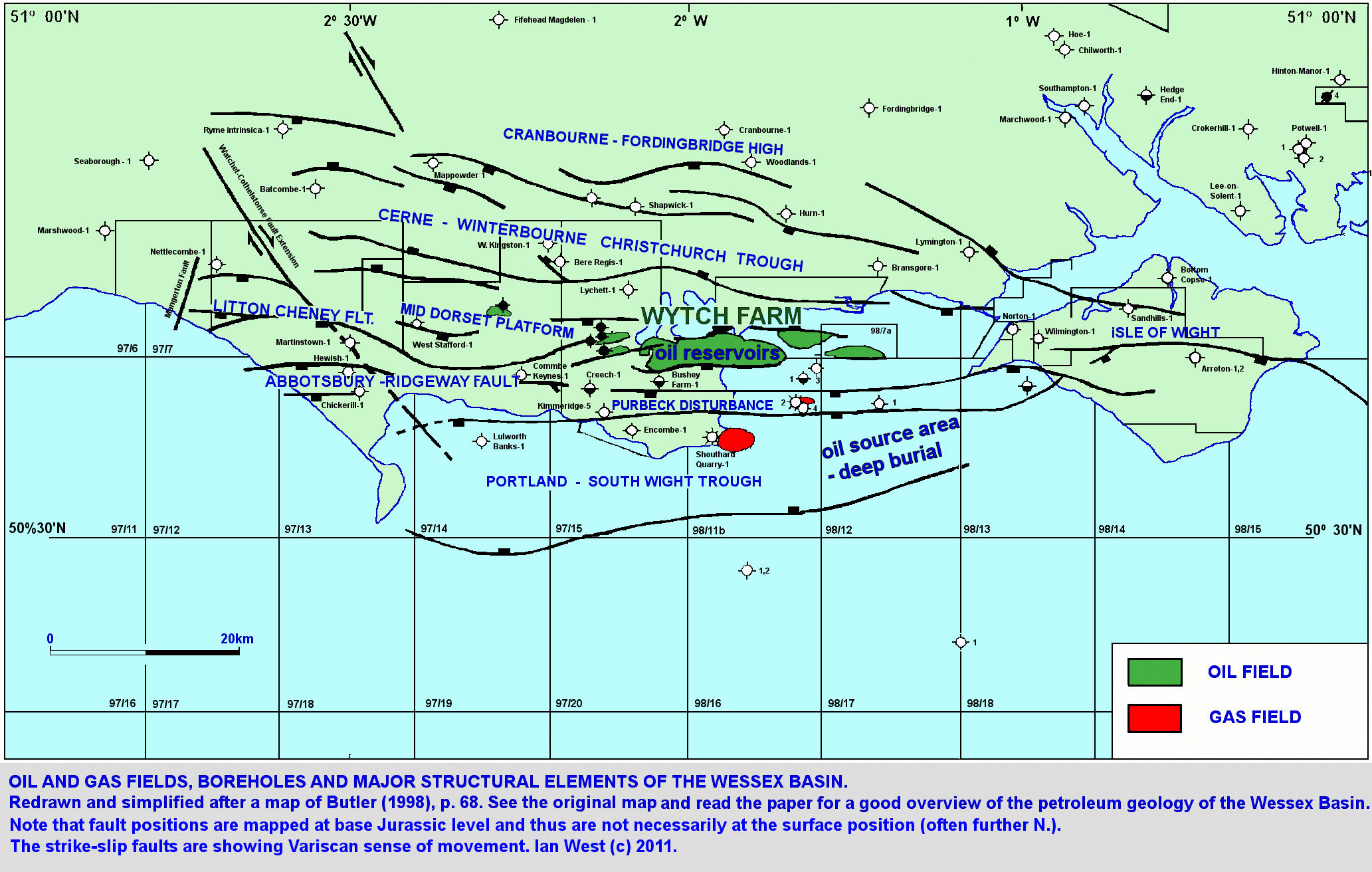 Map Of Old England Wessex.Petroleum Geology The Portland Isle Of Wight Basin