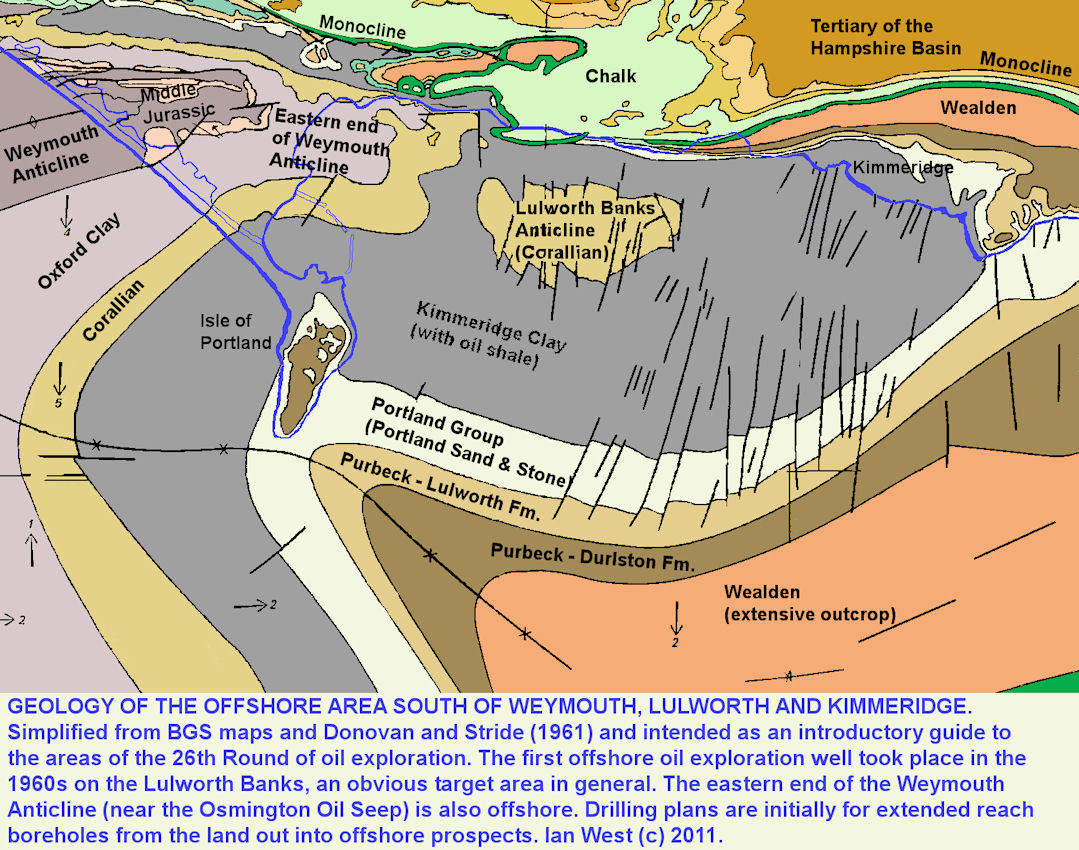 Offshore geology of Portland, Weymouth, Lulworth and Kimmeridge, simplified geological map showing the major structures relevant to offshore petroleum geology of the area