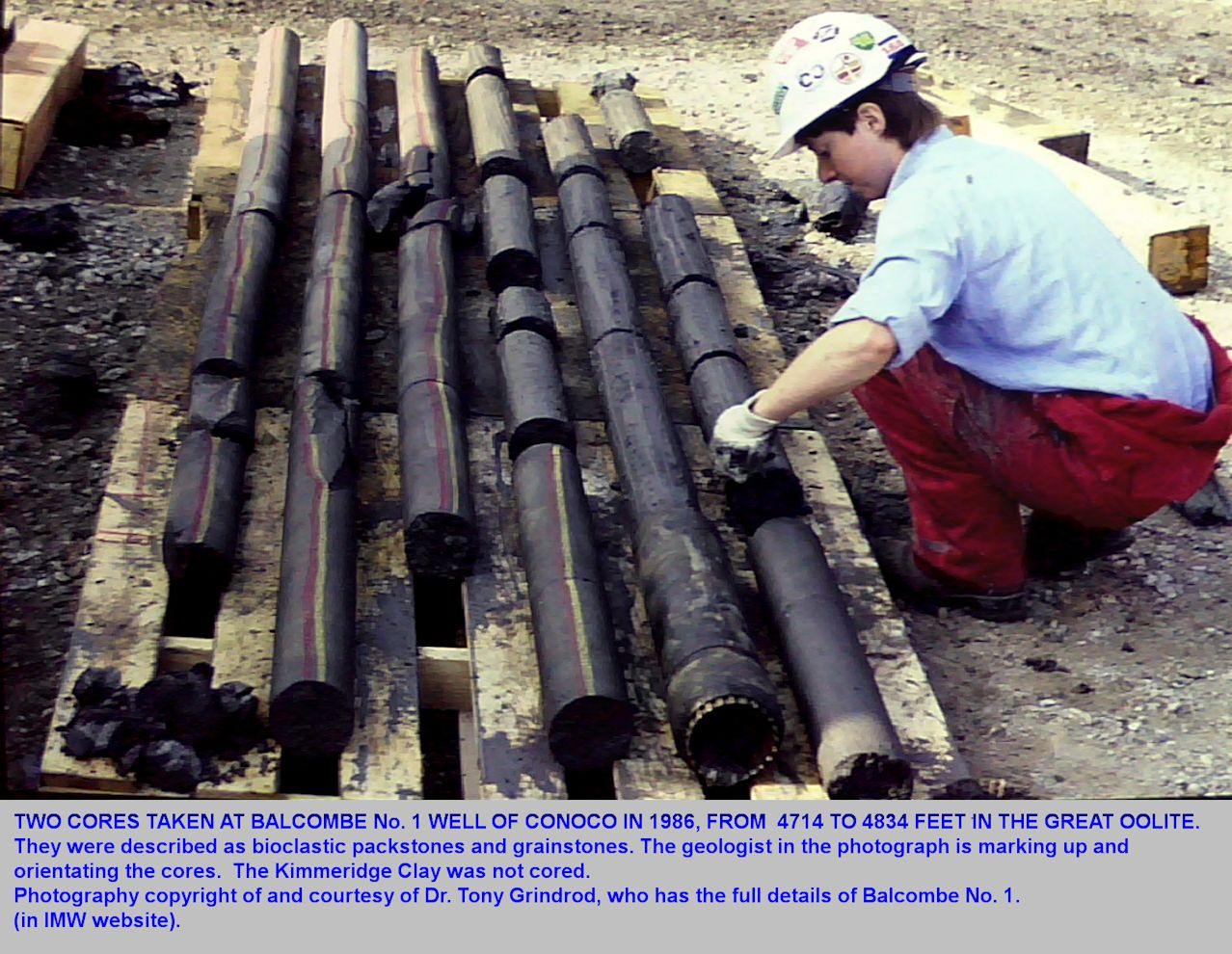 Coring of the Middle Jurassic by Conoco at Balcombe No.1 Borehole in 1986, photograph courtesy of Dr. Grindrod