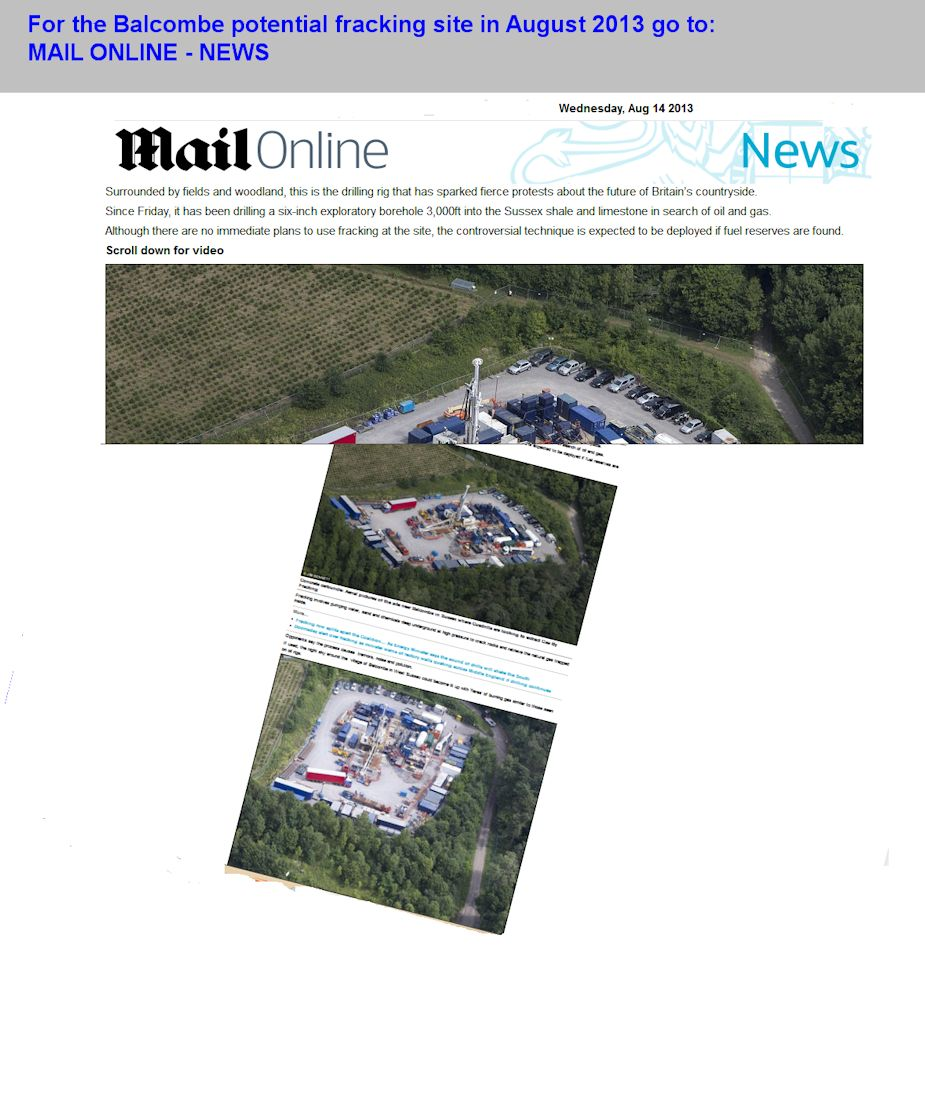 A Mail Online article on Balcombe, August 2013, with aerial view of the Balcombe oil exploration  site, Sussex, England