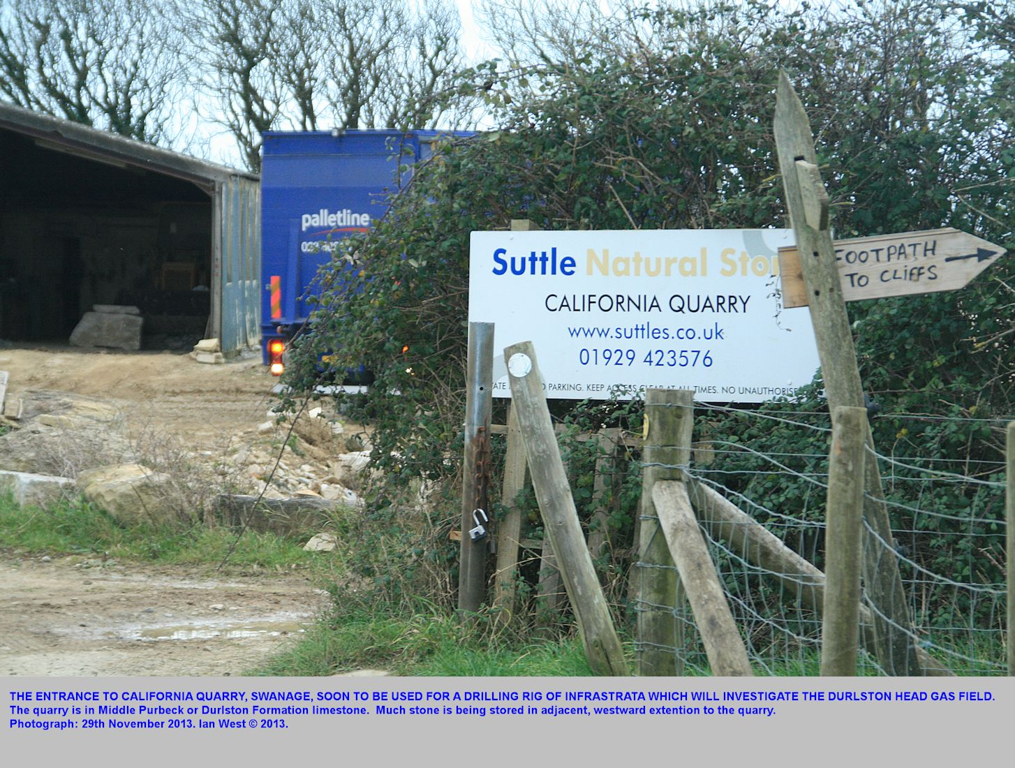 The entrance to California Quarry, California Farm, Swanage, Dorset, a locality that will probably become the wellsite for exploration of the Durlston Head gas field by Infrastrata