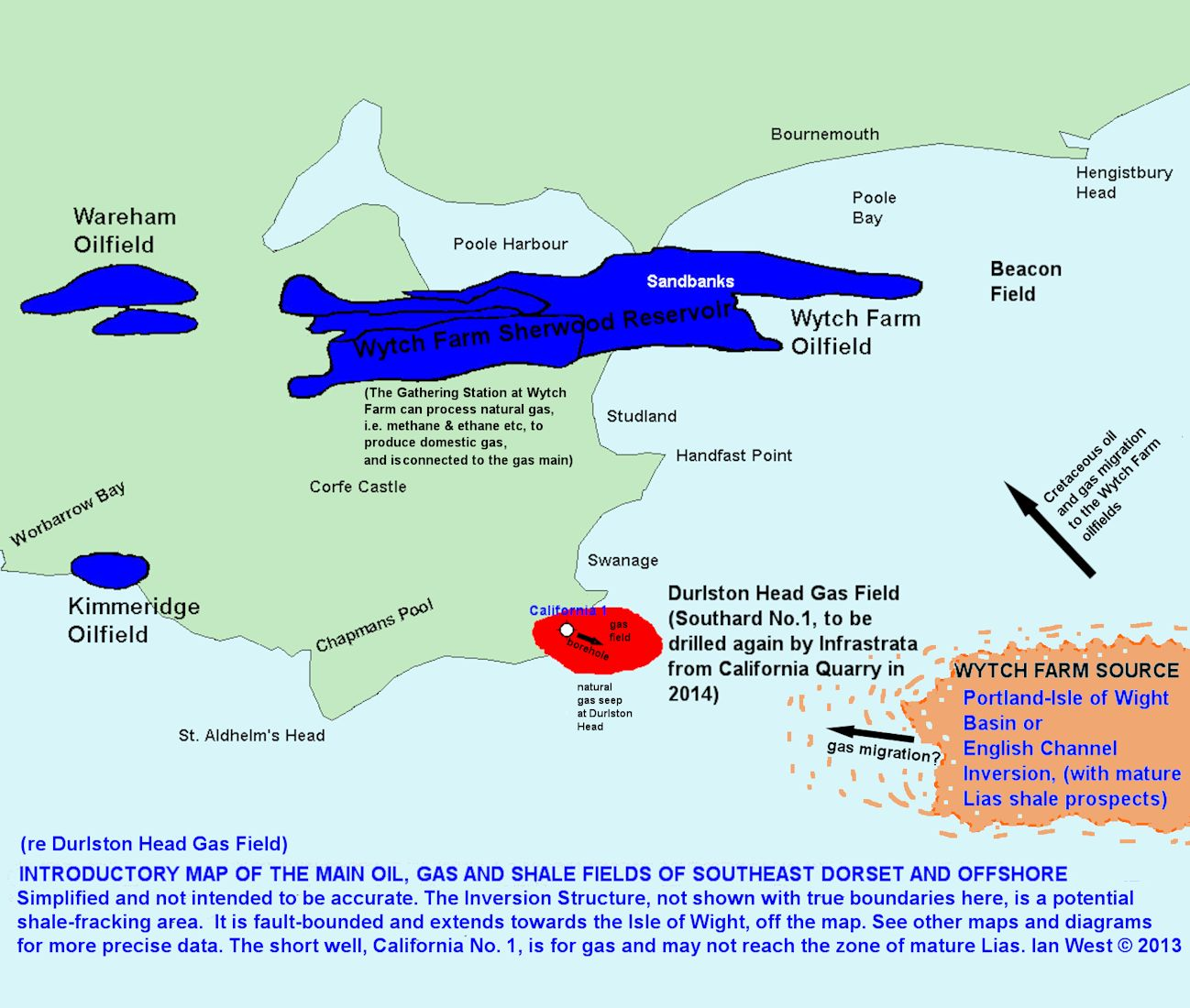 The Durlston Head Gas Field in relation to source rock areas and oil fields in the East Dorset coastal region