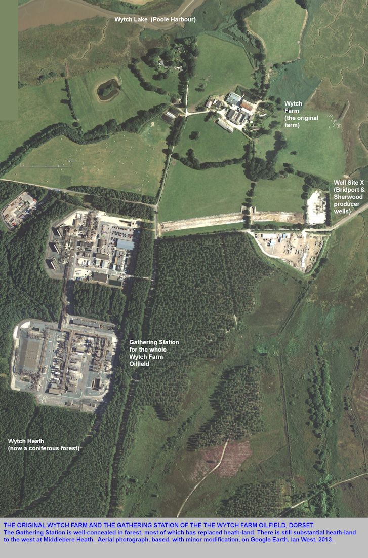 Aerial view of the original Wytch Farm, and the Gathering Station of the oilfield, older photograph, modified after Google Earth