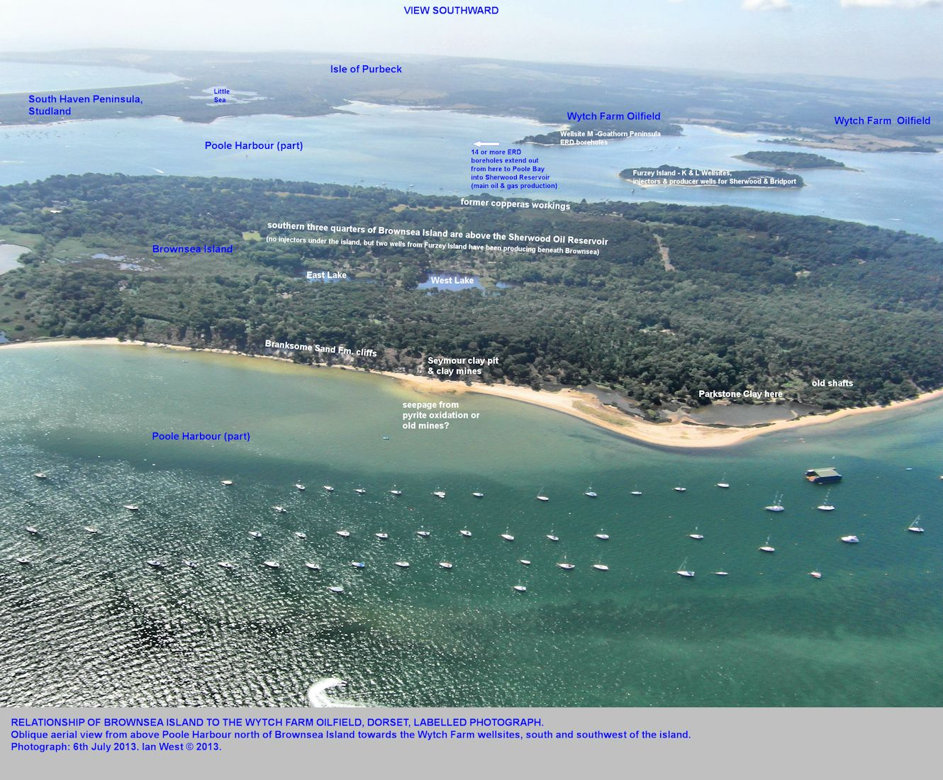 Relationship of the the Wytch Farm oilfield to Brownsea Island and part of Poole Harbour, oblique aerial view towards the south, 6th July 2013