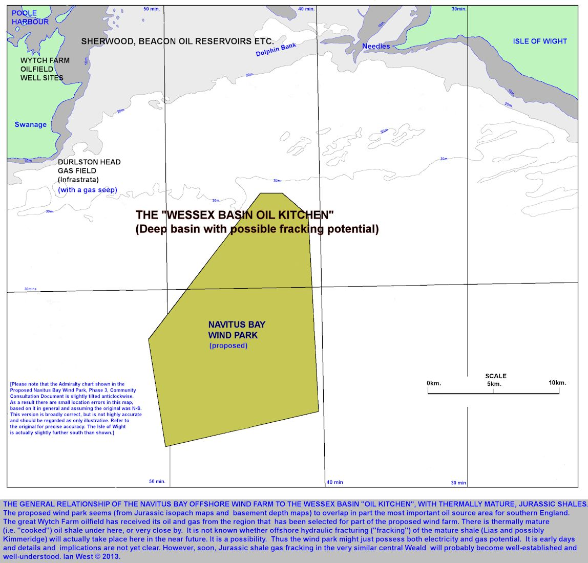 The Navitus Bay Wind Park in relation to the Wessex Basin Oil Kitchen and thermal maturity of Jurassic shales, with fracking potential