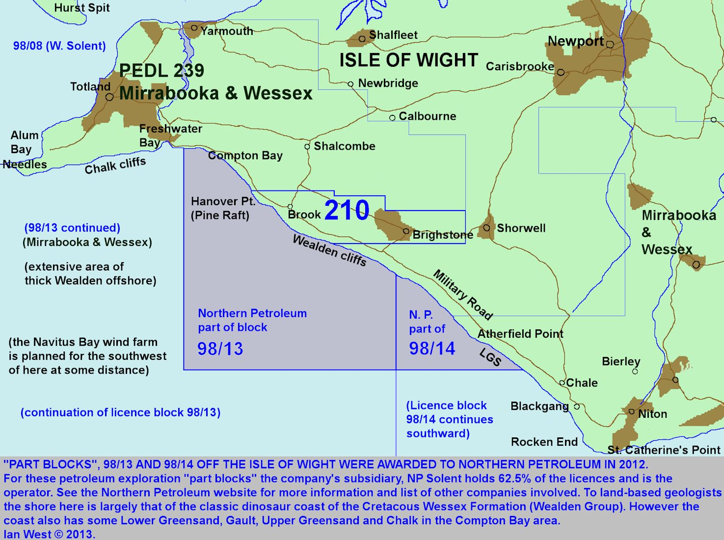 Licence blocks of Northern Petroleum, offshore to the southwest of the Isle of Wight