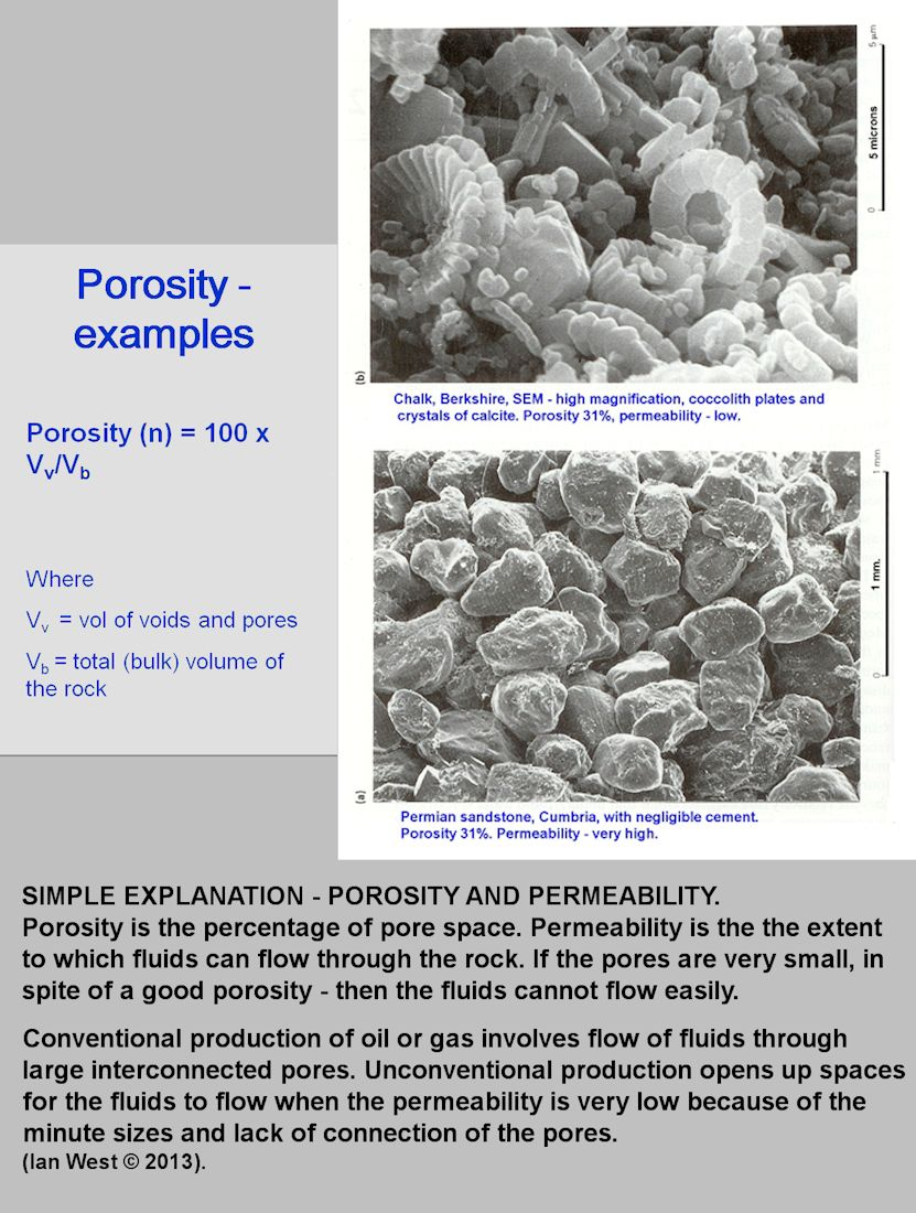 Porosity and permeability of potential reservoir rocks, simple introduction