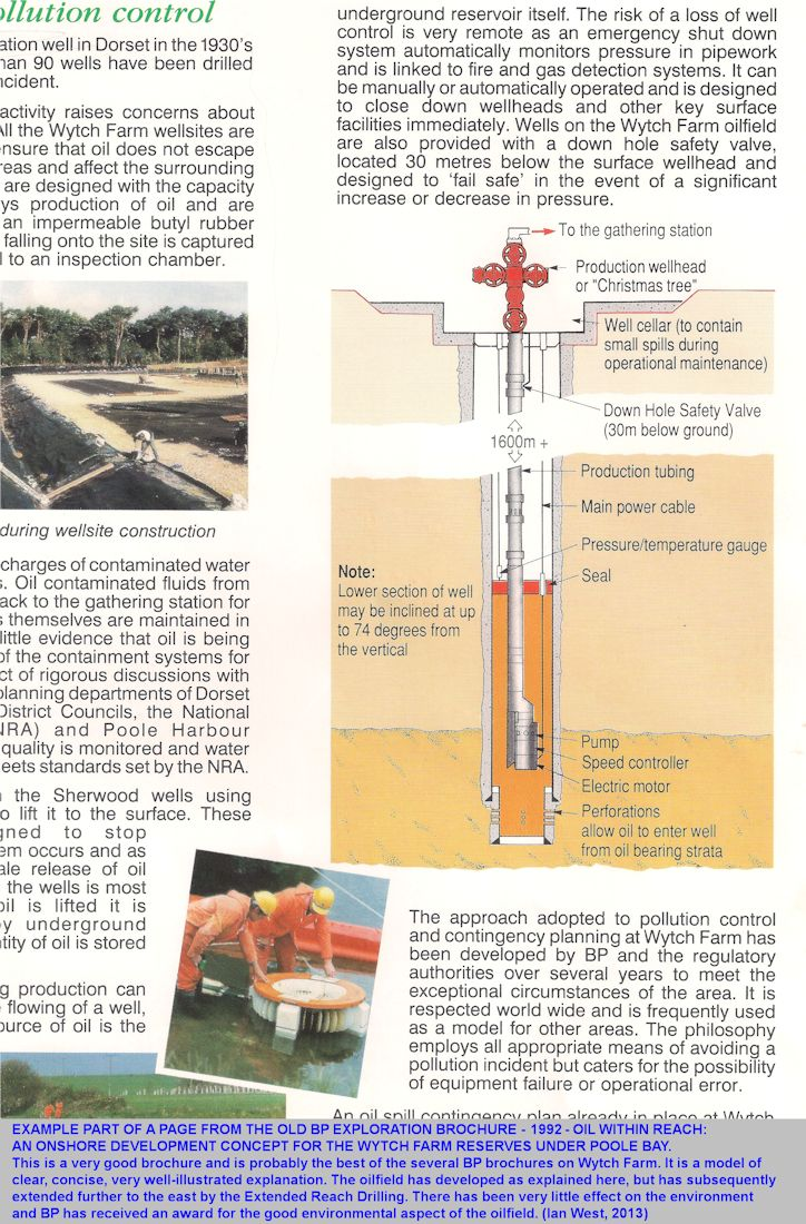 Example, partial page extract from BP Exploration brochure - Oil at Wytch Farm, 1992