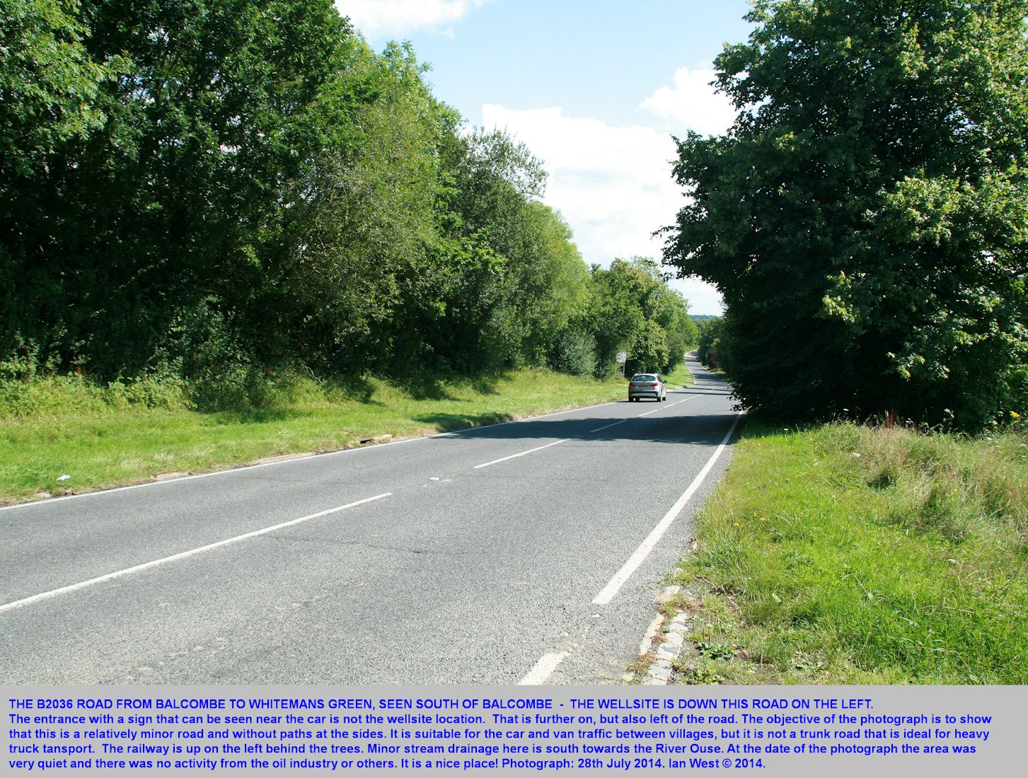 Balcombe, Sussex, the London Road southwards to towards the Cuadrilla oilwell site, seen on the 28th July 2014