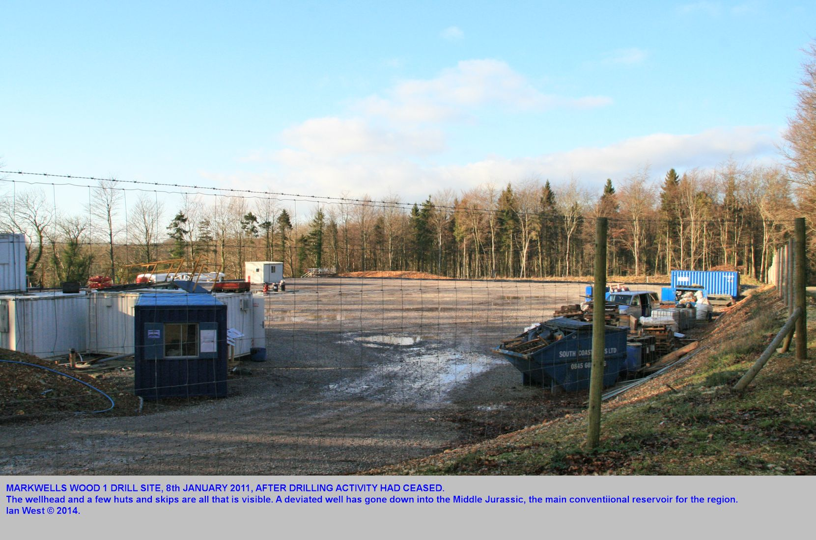The Markwells 1 drill site, empty after drilling, 8th January 2011.
