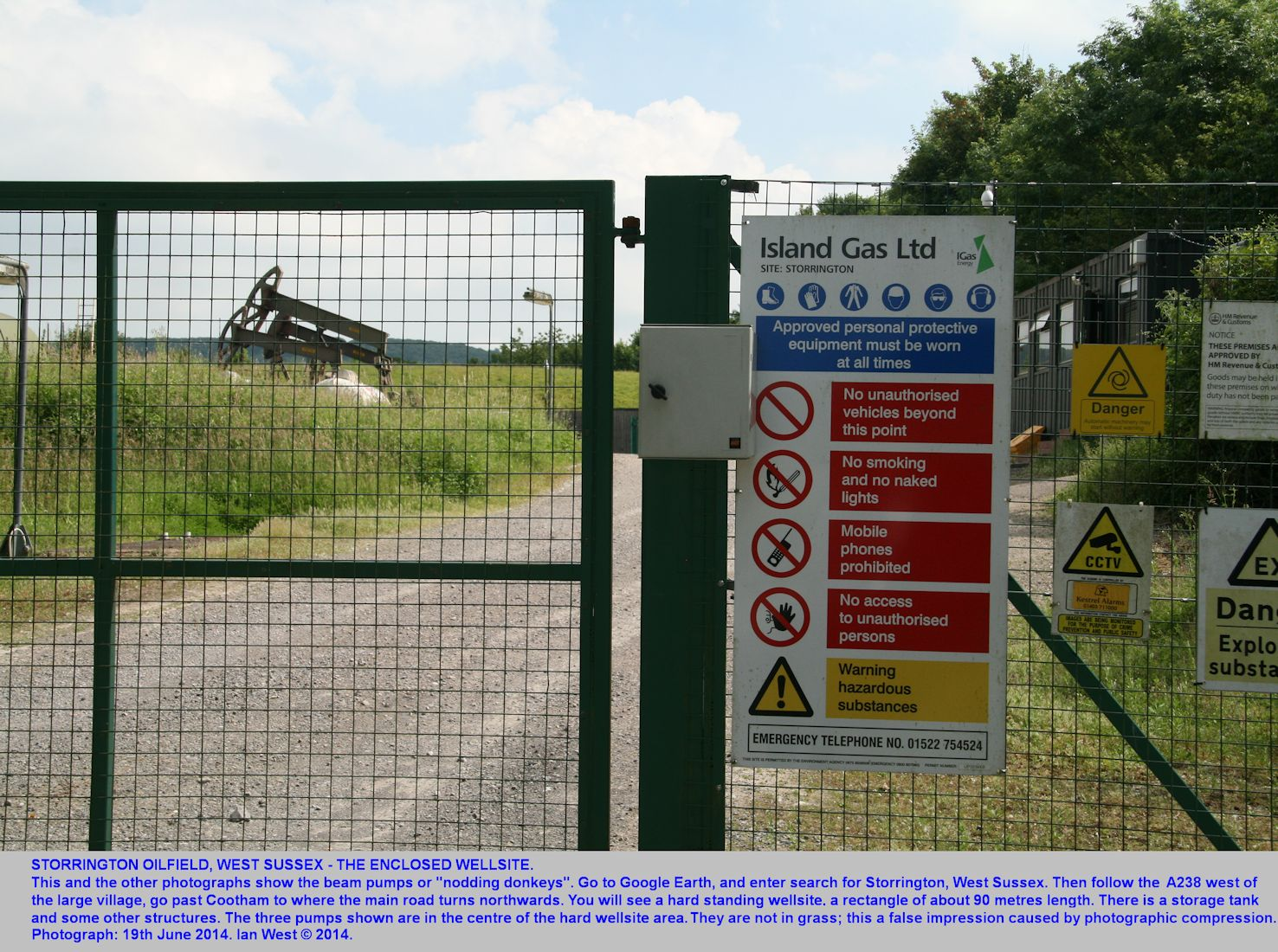 The IGAS oil company notice at the Storrington wellsite, 19th June 2014