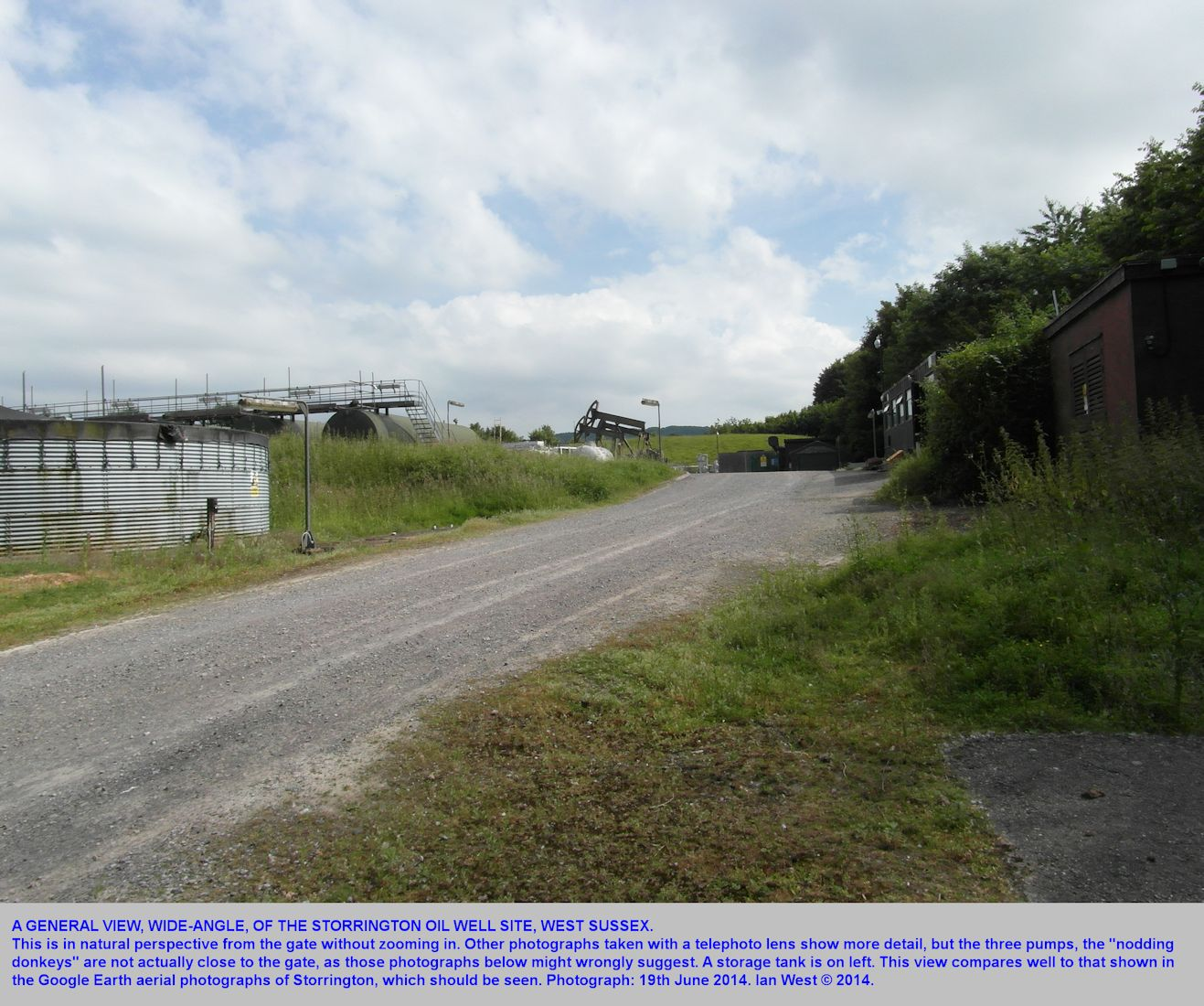 A general view, wide-angle, of the Storrington oil wellsite, West Sussex, 19th June 2014