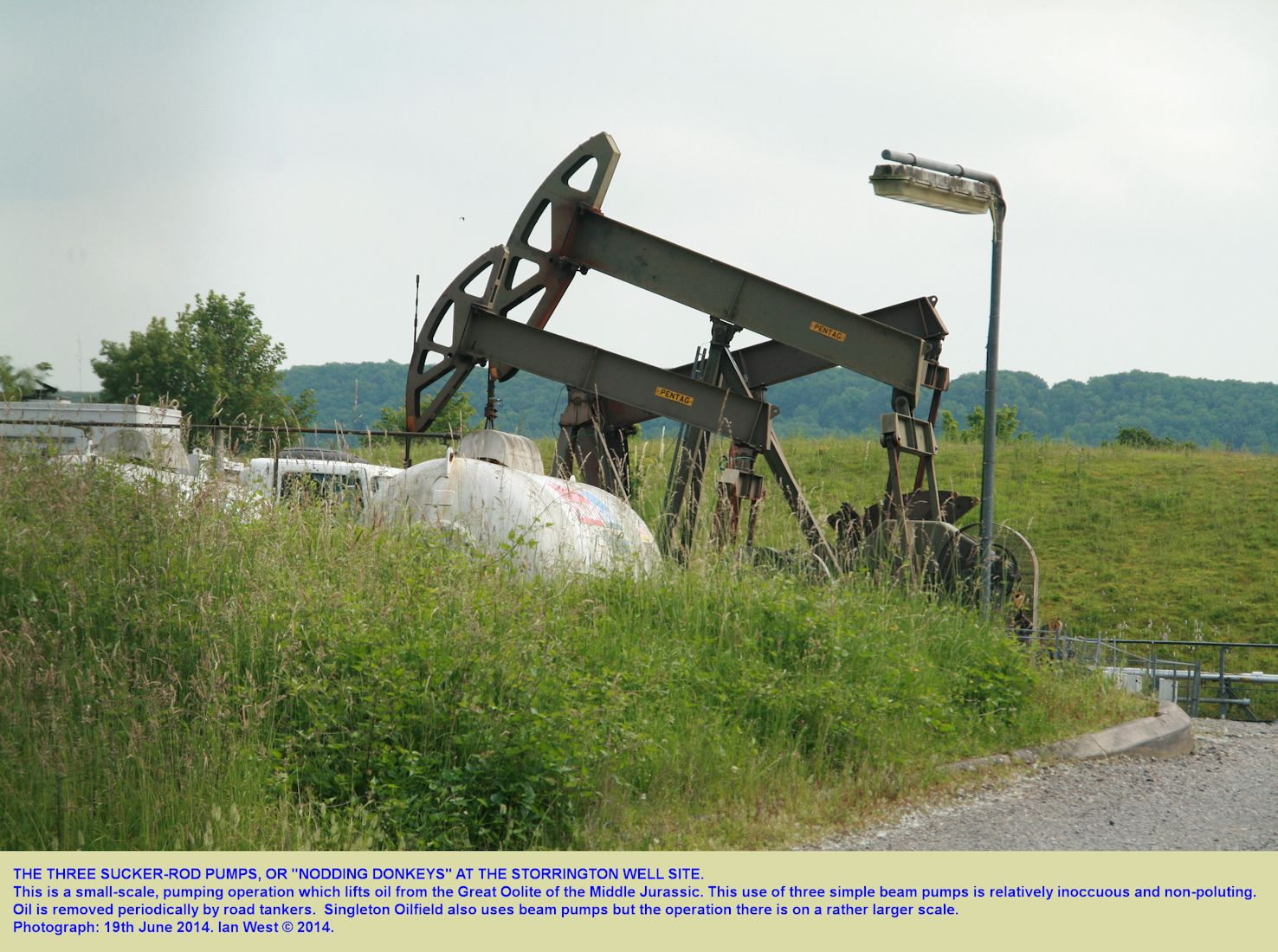 Three beam pumps at the small Storrington Oilfield, West Sussex, 19th June 2014