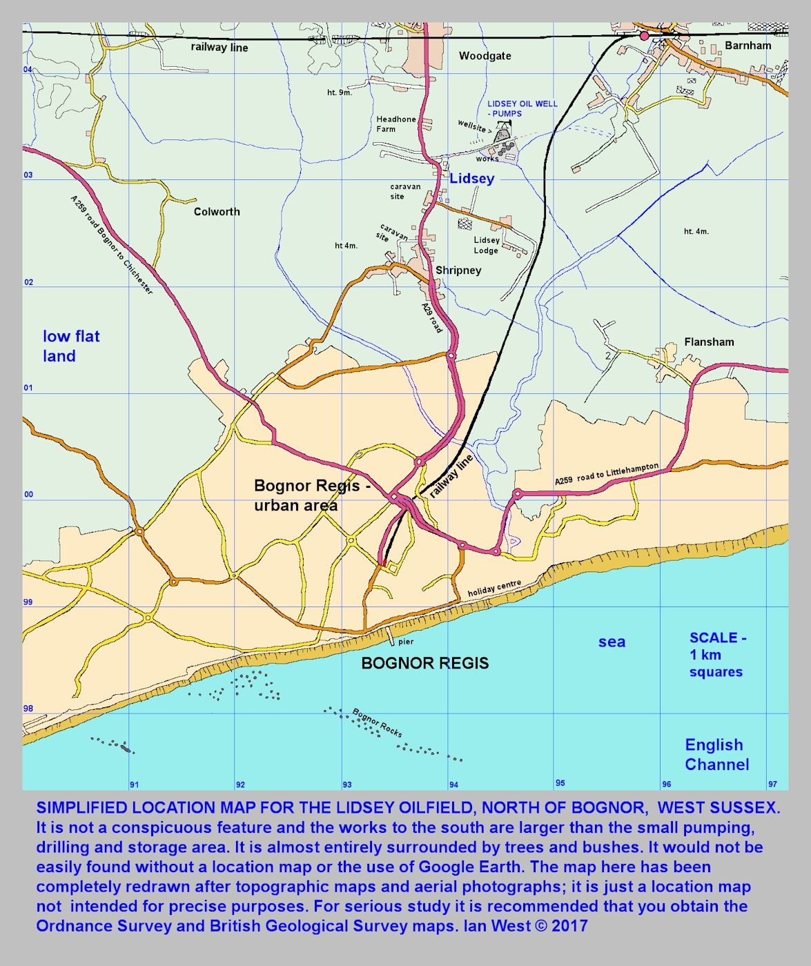 A map showing the location of the Lidsey oil well site, a short distance north of Bognor, West Sussex