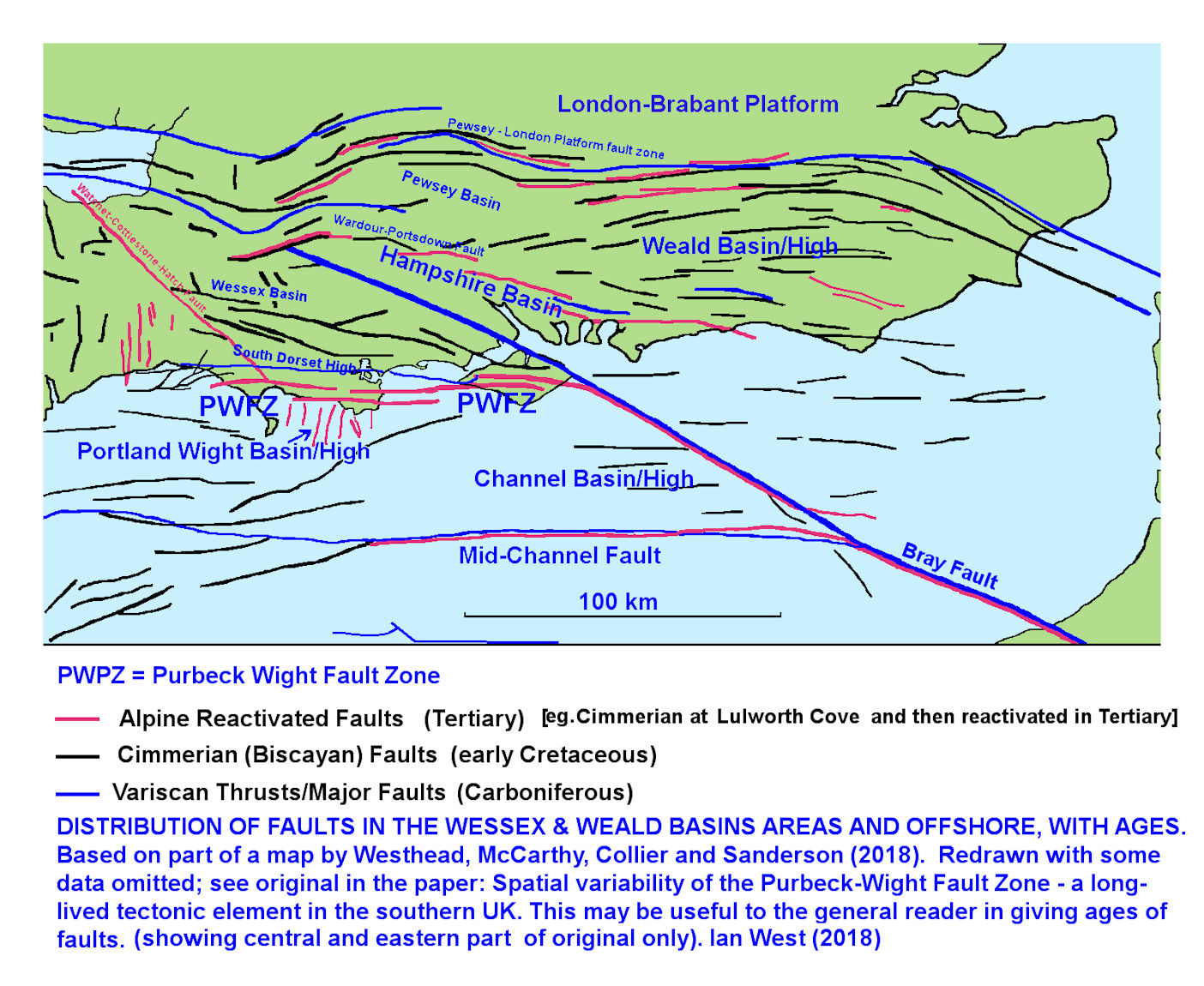 Fault pattern of part of southern England and the English Channel, modified and redrawn after Westhead, McCarthy, Collier and Sanderson, 2018