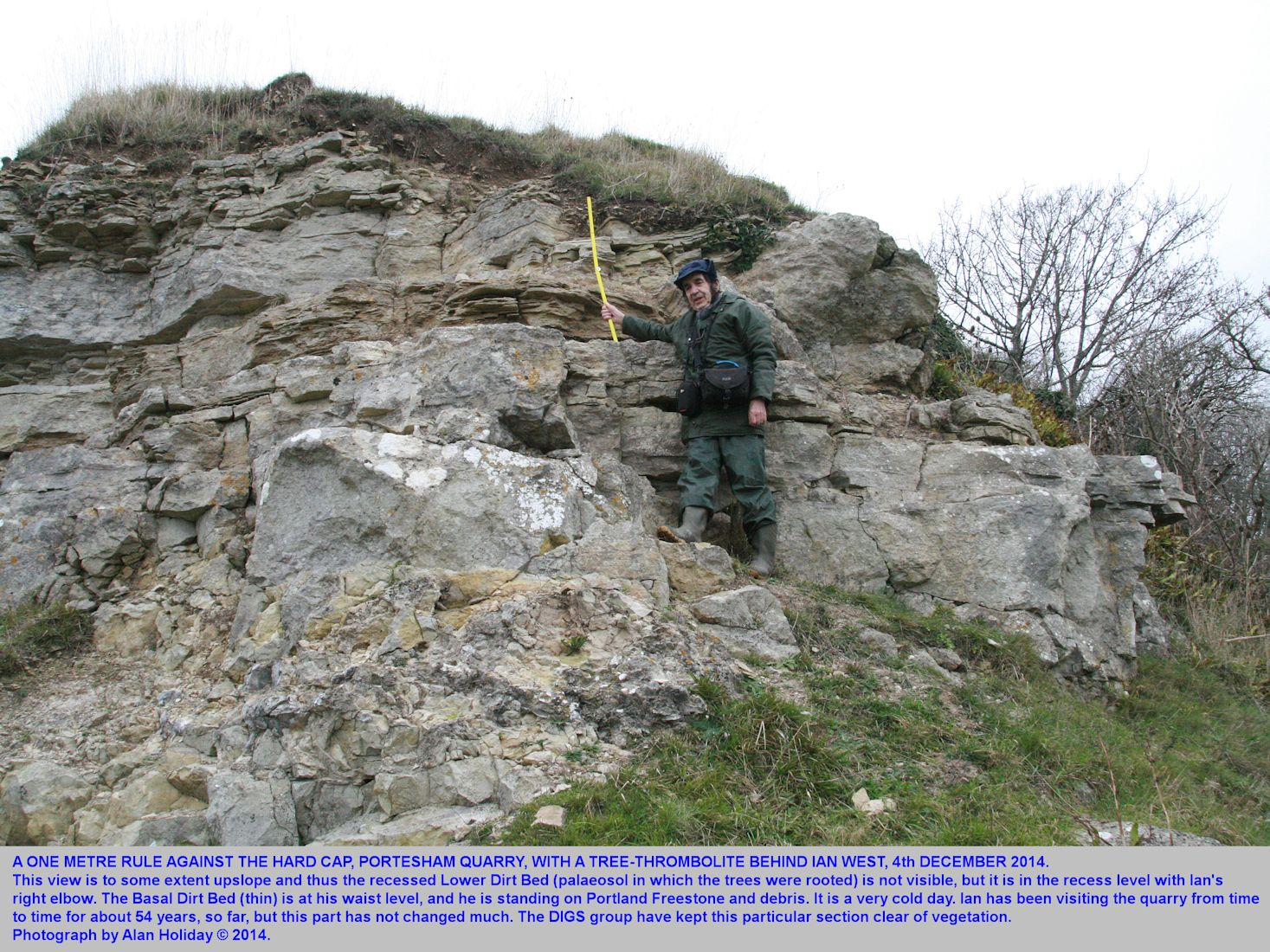 The Hard Cap and associated strata of the Basal Purbeck Group, Portesham Quarry, Dorset, with Ian West and a scale, 2014