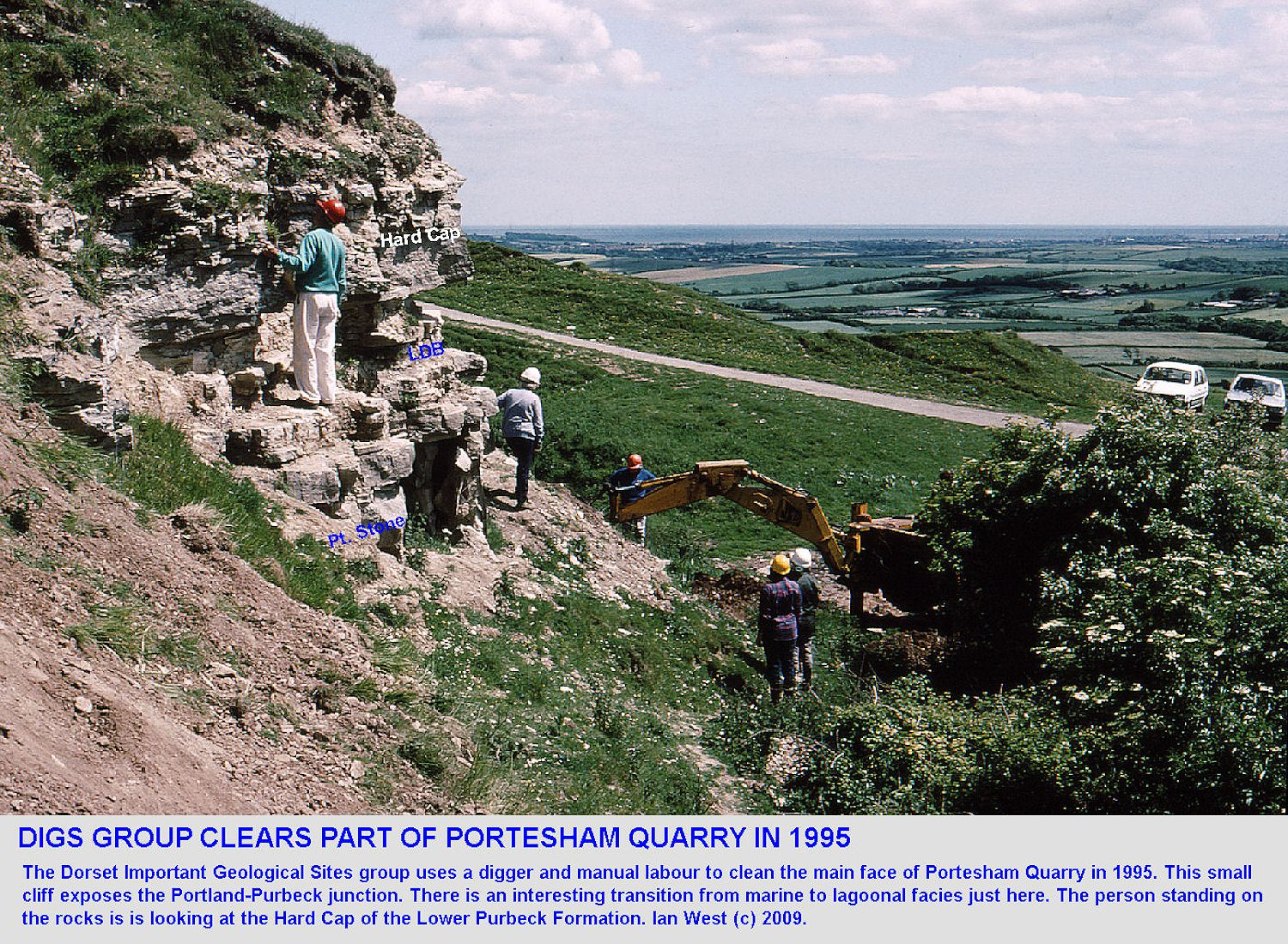 The DIGS Group clears the Portland-Purbeck face of Portesham Rocket Quarry, Dorset, in 1995
