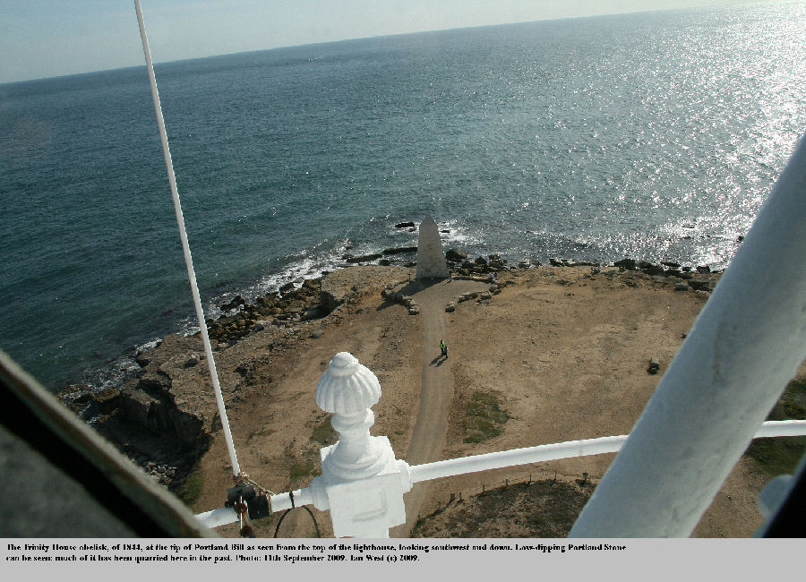 The Trinity House obelisk at Portland Bill, Dorset, as seen from the top of the lighthouse, 11th September 2009