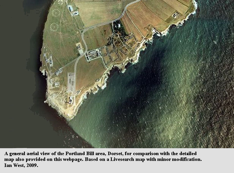 A general aerial view of Portland Bill, Dorset, for comparison with detailed map