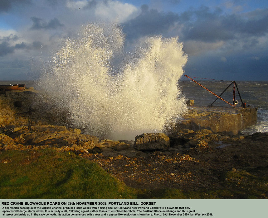 Red Crane Blowhole in action, 29th November 2009, Portland Bill, Dorset