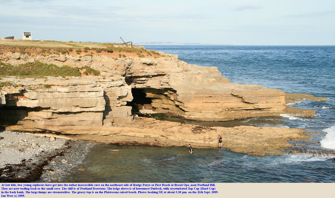The cave and ledge on the northeast side of Rudge Poryx or First Beach, Broad Ope, near Portland Bill, Dorset, 11th September 2009
