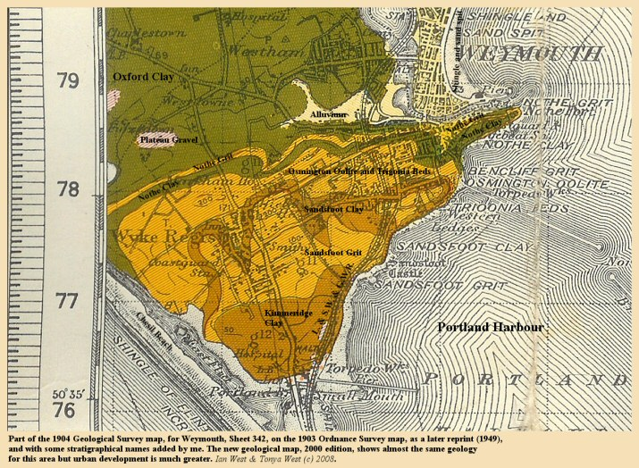 Part of the 1904 edition of the Geological Map of Weymouth, Dorset, showing the northern part of Portland Harbour