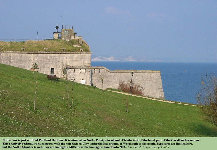 Nothe Fort on the Nothe Grit, Corallian Formation, north of Portland Harbour, Dorset, 2005