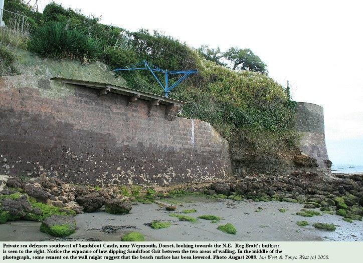 Private sea defences southwest of Sandsfoot Castle, Portland Harbour, Dorset, looking northeast, August 2008