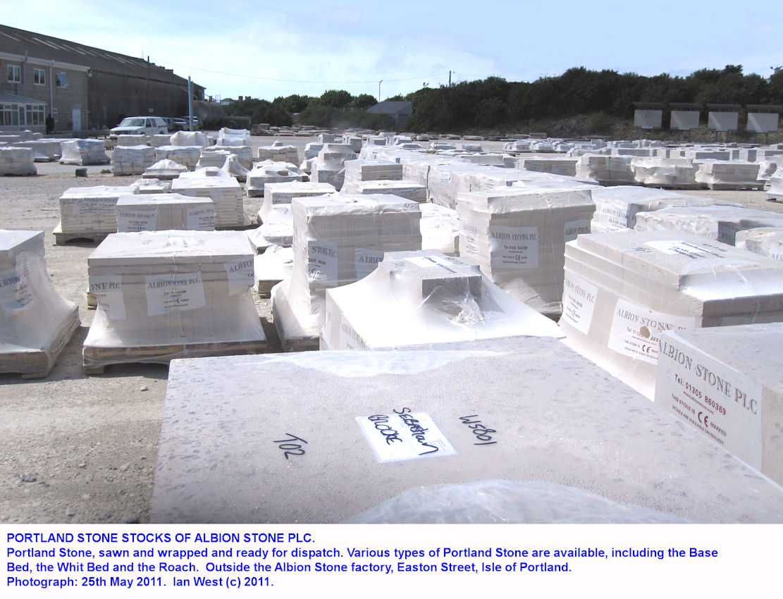 Stocks of sawn Portland Stone outside the Albion Factory, Easton Street, Isle of Portland, Dorset, 2011