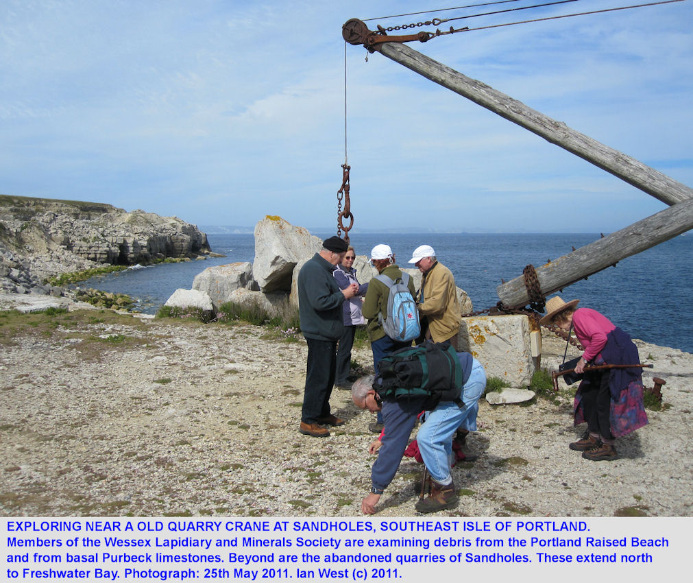 Exploring the cliff top near an old crane at Sand Holes or Sandholes, Portland, Dorset, 2011