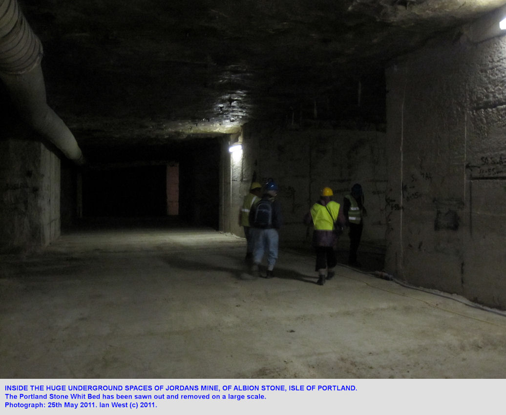 Inside the wide tunnels of Jordans Mine, Albion Stone, Isle of Portland, Dorset, 2011