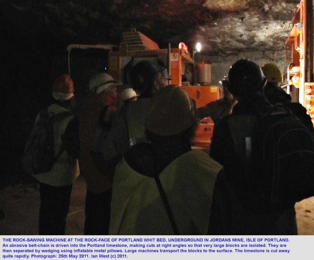 Rock cutting machine, underground in Jordans Mine, Portland, Dorset, 2011