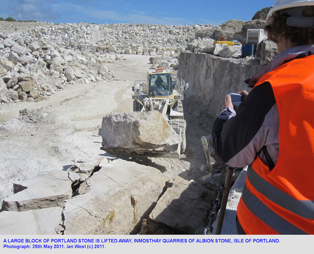 A large block of Portland Stone is lifted away, Inmosthay Quarry, Albion Stone, Isle of Portland, Dorset, 2011