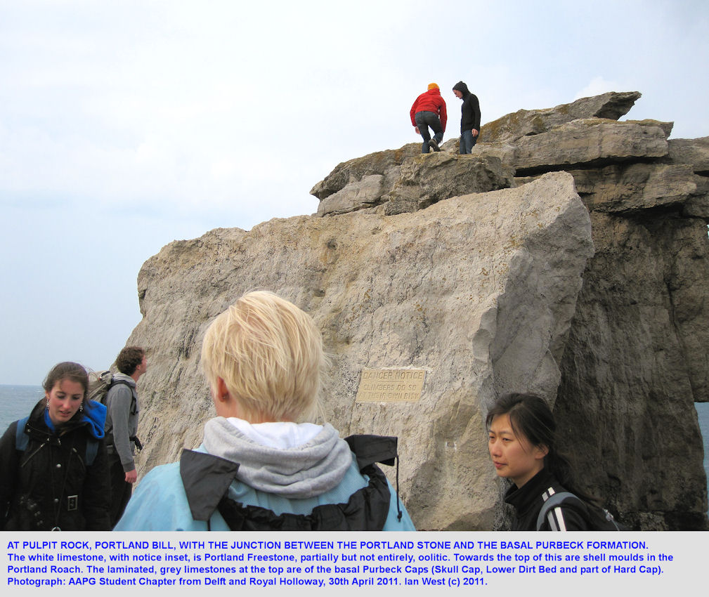 Pulpit Rock, Portland Bill, Dorset, a close view, with an AAPG Student Chapter, 2011
