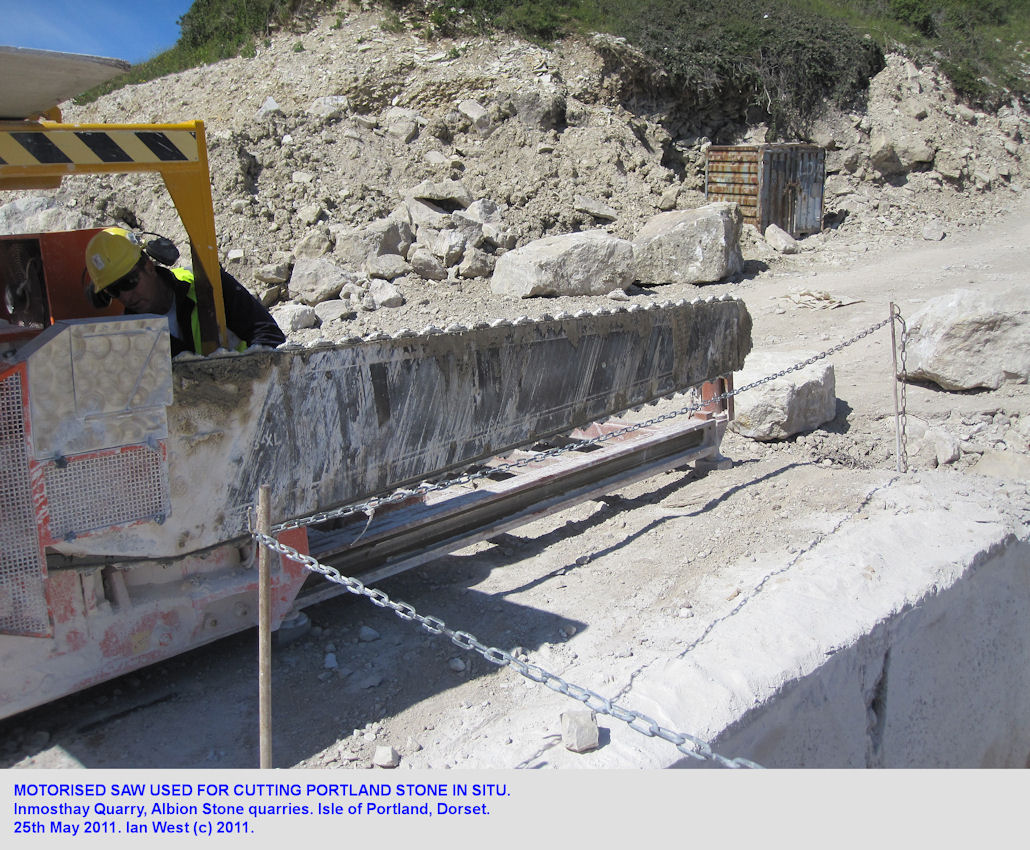 Motorised saw used in the Inmosthay Portland Stone quarry of Albion Stone, Isle of Portland, Dorset, 2011