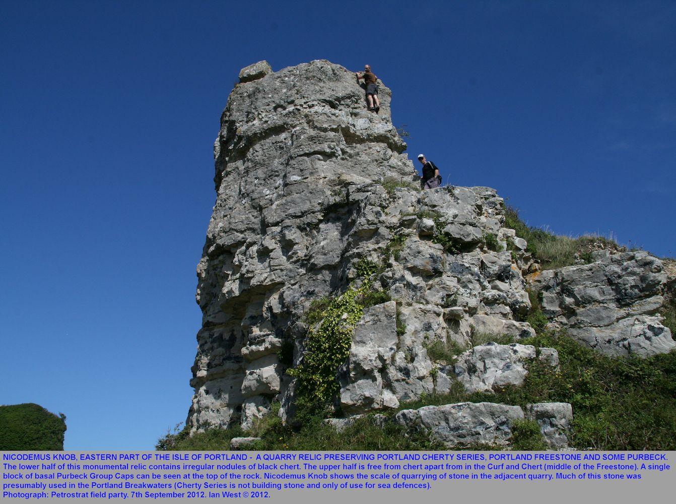 Climbing Nicodemus Knob, eastern Isle of Portland, Dorset, Petrostrat field trip, 7th September 2012