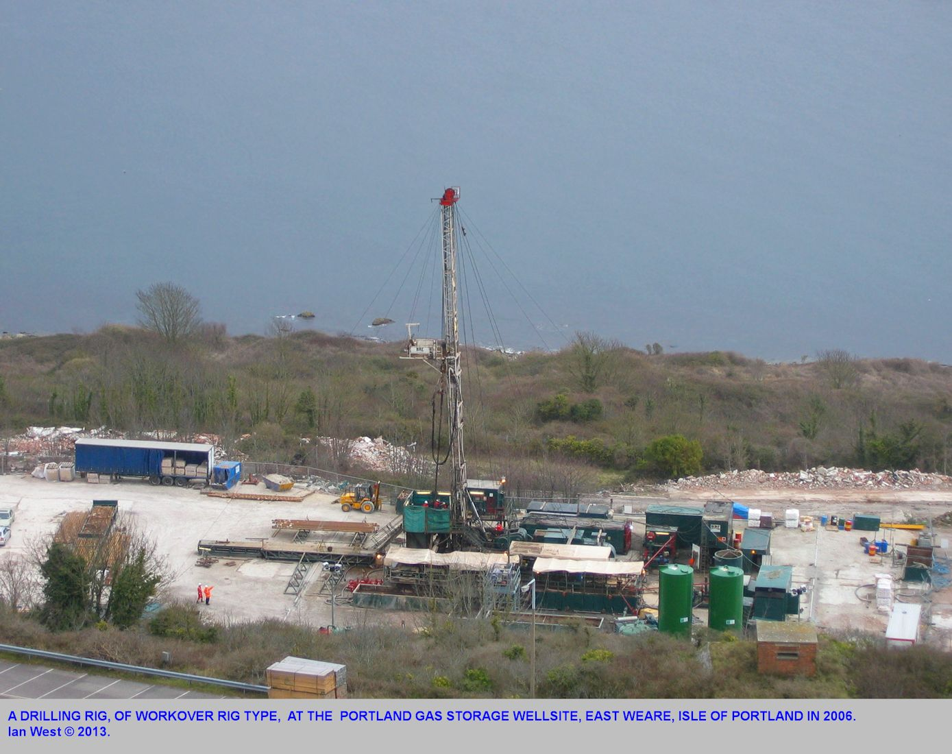 A closer view of the borehole site for the gas storage project at East Weare, Isle of Portland, Dorset, as seen in 2006