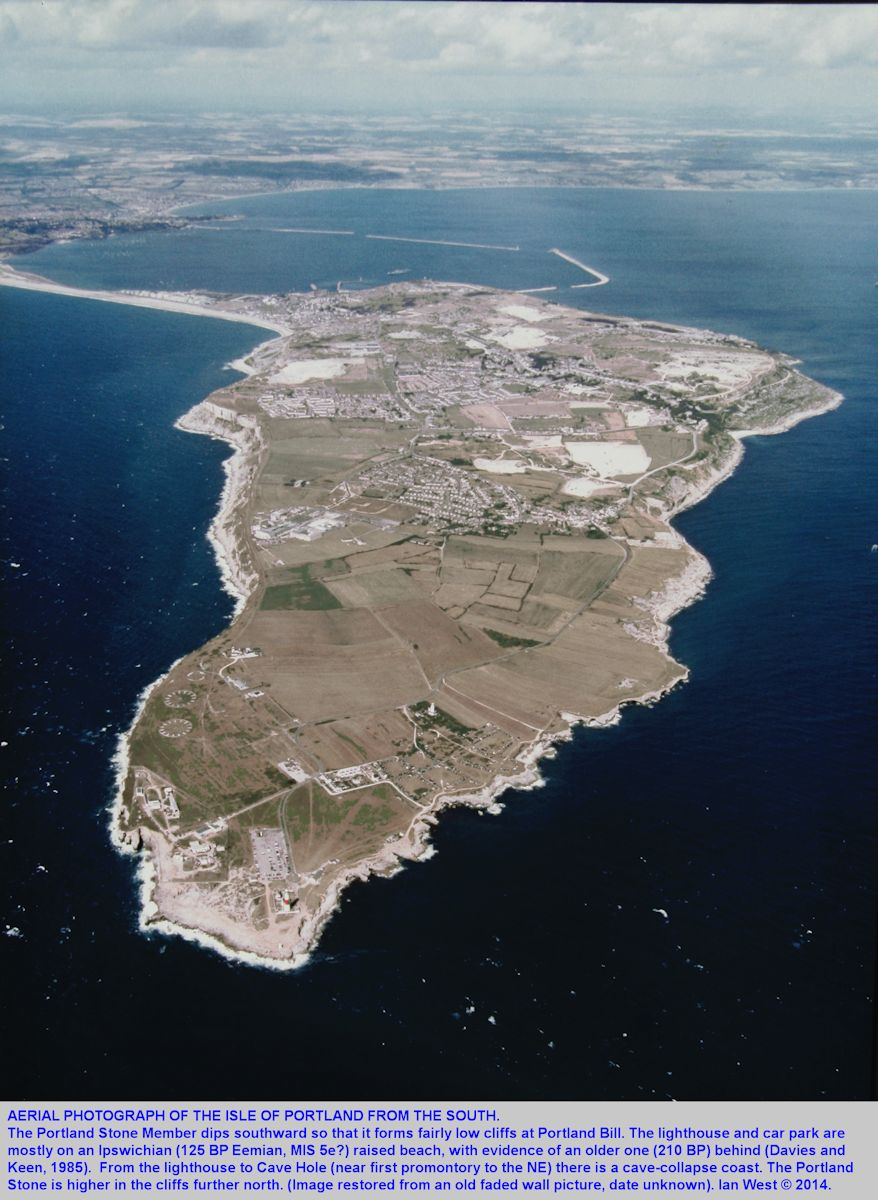 An old aerial photograph of the Isle of Portland, Dorset, from the south, showing some details particularly in the Portland Bill region