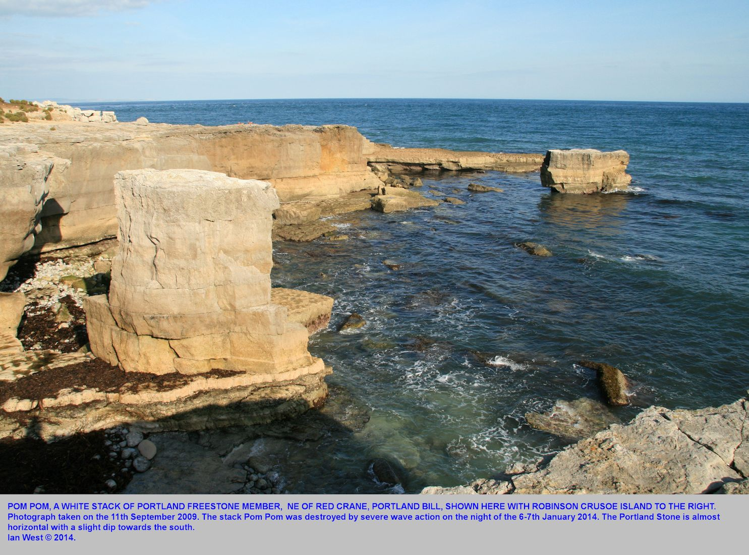 Pom Pom, a limestone stack, at Portland Bill, Dorset, in 2009, before its destruction by a storm in January 2014