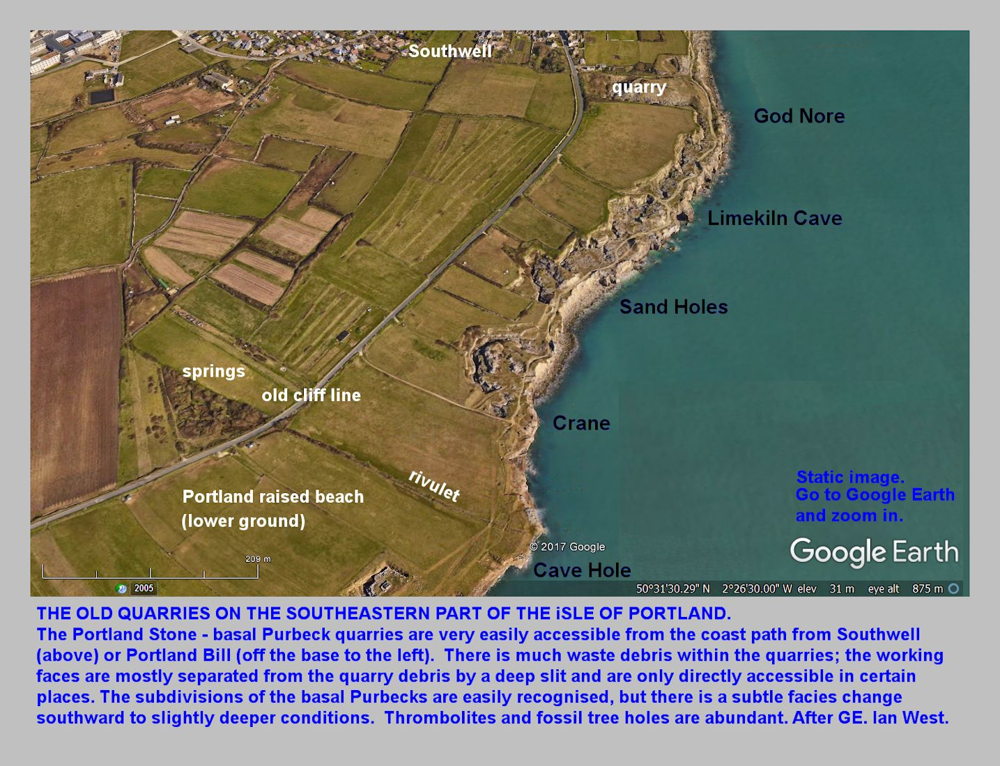 A GE view of the southeastern part of the Isle of Portland, Dorset, showing the location of the old coastal quarries