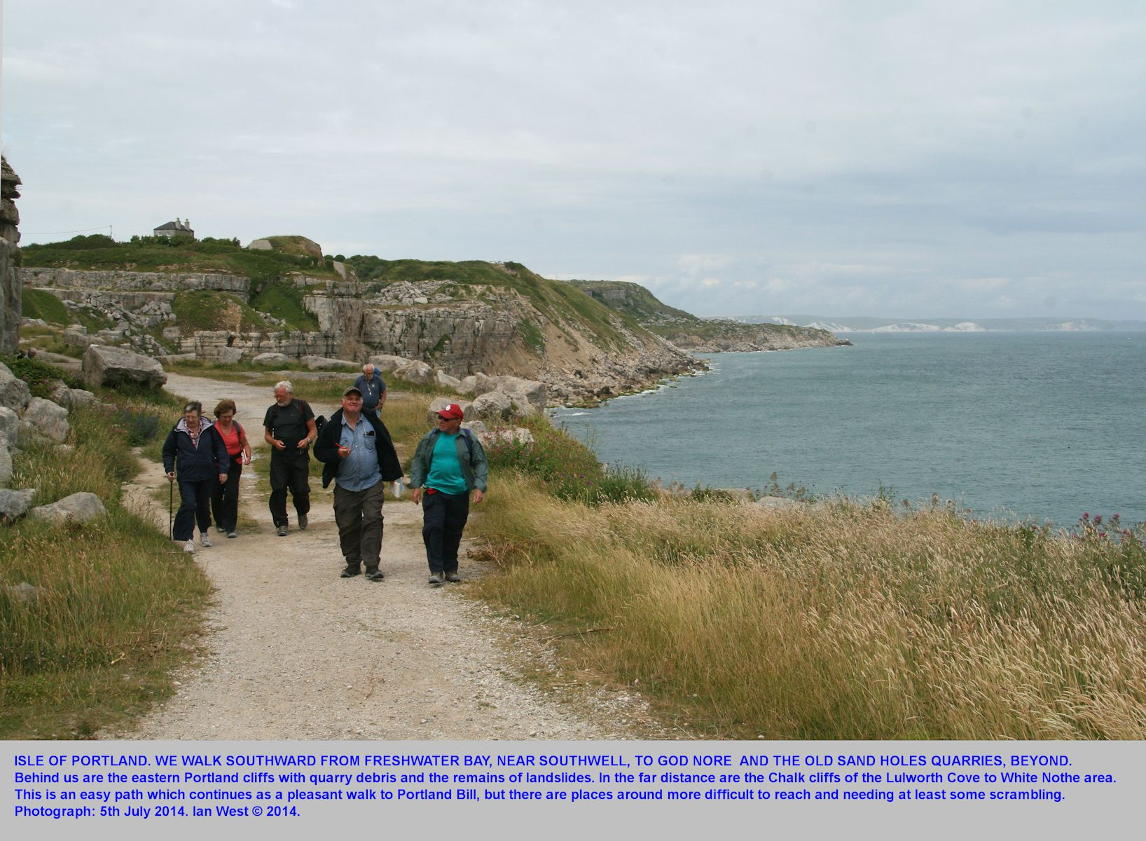 Walking on the cliff path from Freshwater, Isle of Portland, Dorset, to the old coastal quarries at Sand Holes and God Nore