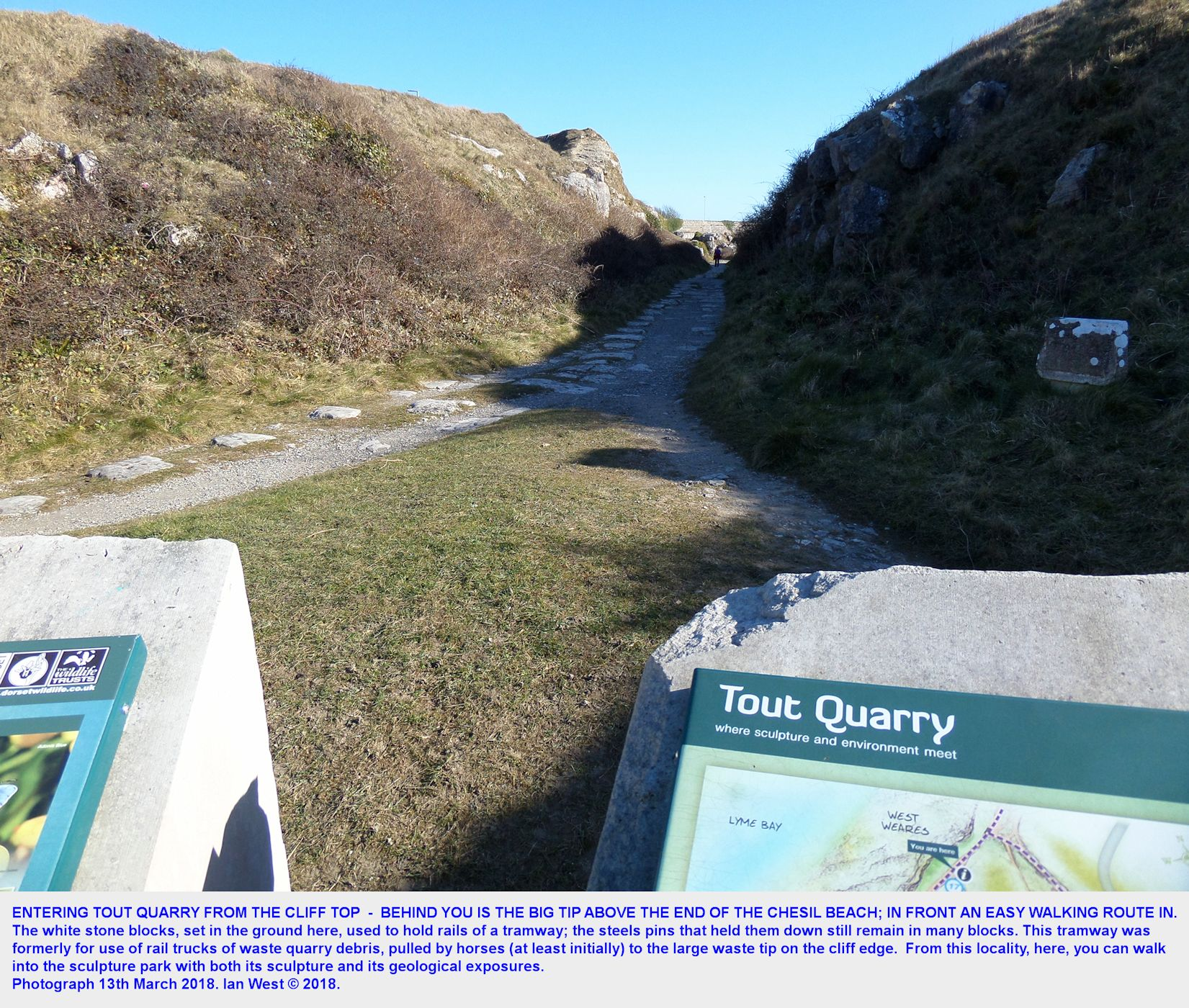 Entering Tout Quarry from the cliff top near the top of West Weares, old quarry tip