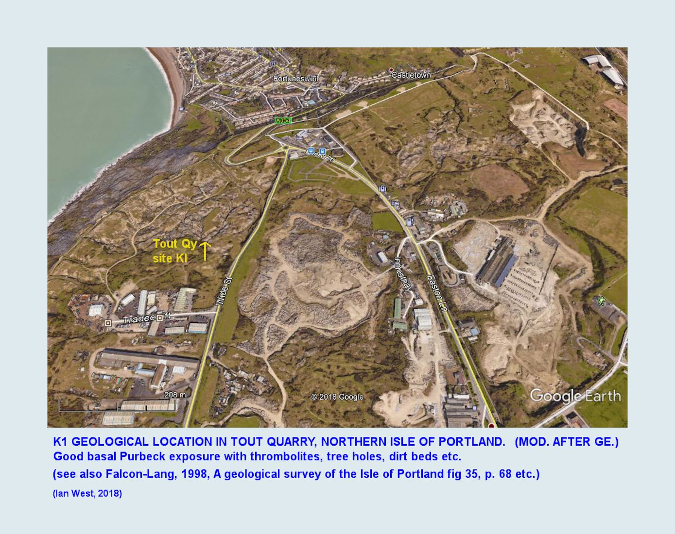 The location of Tout Quarry in the northern part of the Isle of Portland - this quarry is easily accessible and shows very good sections of the Portland-Purbeck juction at site K1