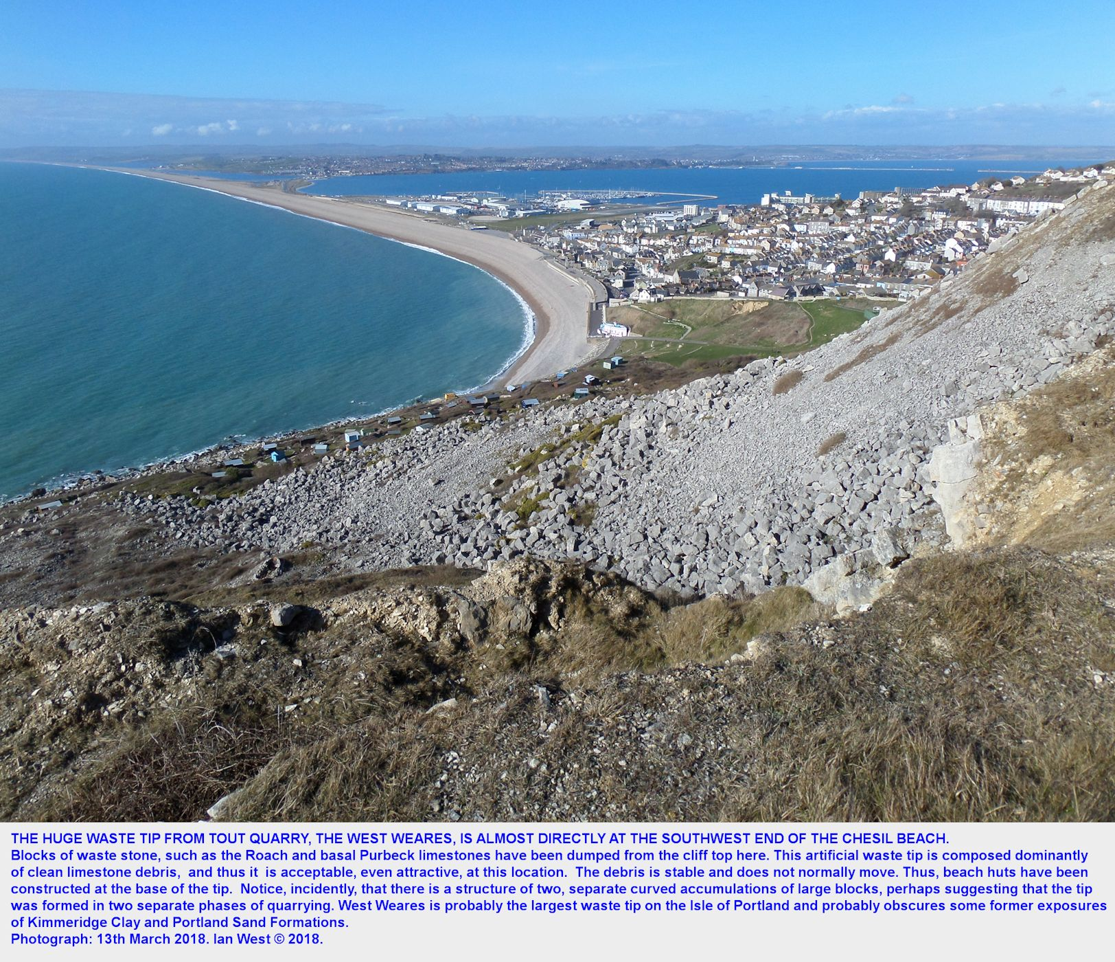 The waste tip of quarry debris, largely basal, Purbeck stone, at West Weares, Isle of Portland