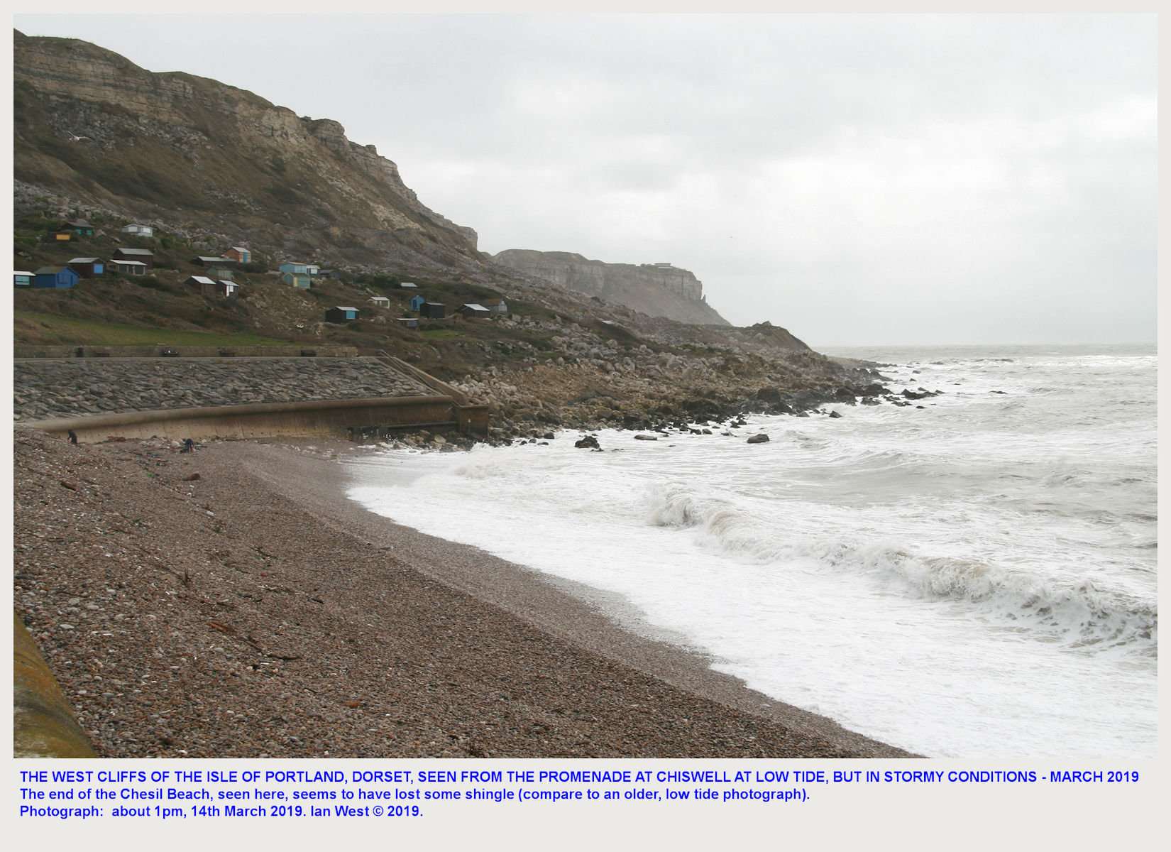 The West Cliffs of the Isle of Portland, Dorset, showing West Weare, Clay Ope and Black Nore, at low tide and in stormy weather, 14th March 2019