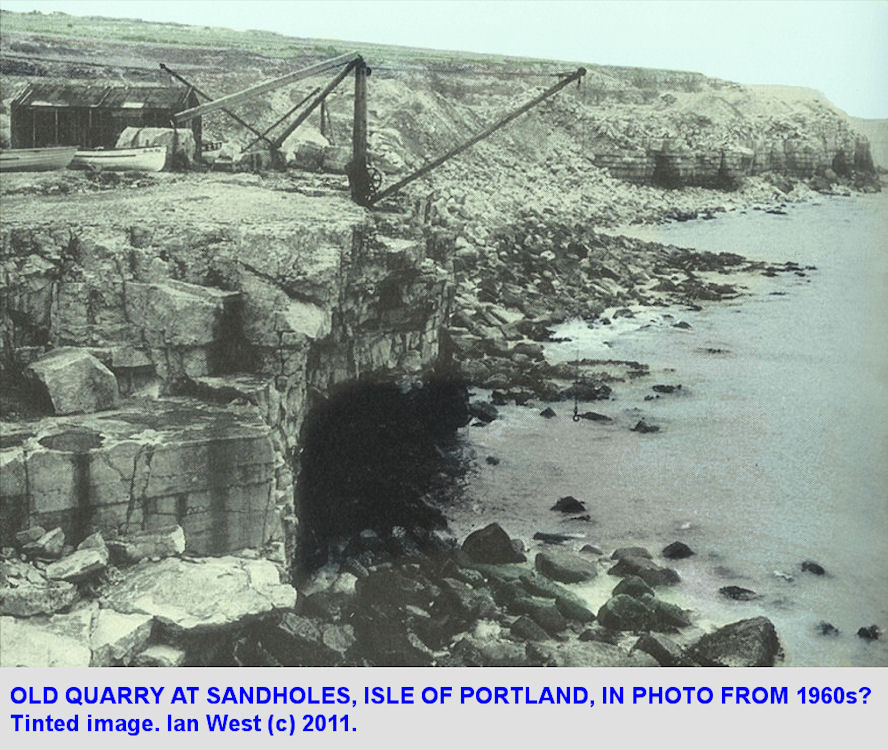 Old photograph of old cliff quarry between Cave Hole and Sand Holes, Portland Bill, Dorset