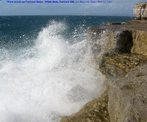 Wave breaking on Portland Cherty Series, Whitehole, Portland Bill, Dorset
